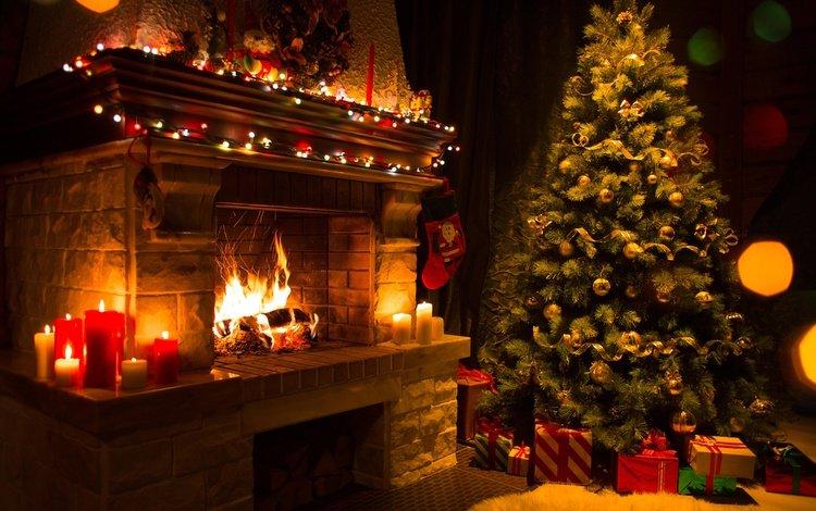 новый год, елка, подарки, камин, рождество, new year, tree, gifts, fireplace, christmas
