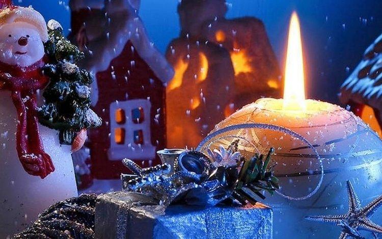 новый год, подарки, снеговик, свеча, new year, gifts, snowman, candle