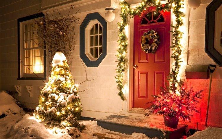 огни, снег, новый год, зима, ель, праздник, рождество, декабрь, lights, snow, new year, winter, spruce, holiday, christmas, december