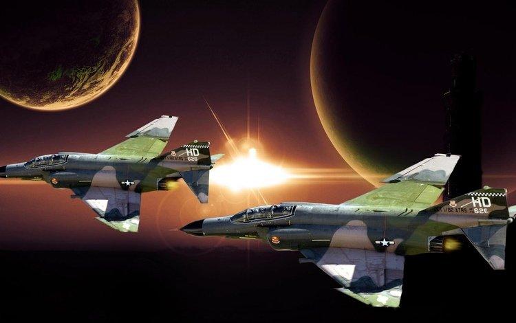 космос, планеты, истребитель, фантом, mcdonnell douglas, фан-арт, f4, space, planet, fighter, phantom, fan art