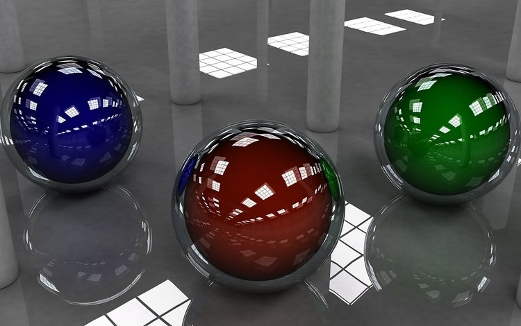 шарики, пол, зеркальный, balls, floor, mirror