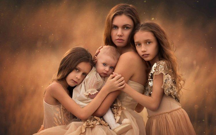 дети, любовь, мама, сёстры, children, love, mom, sisters