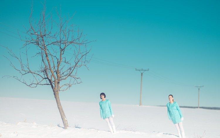 snow, tree, girls, tilt