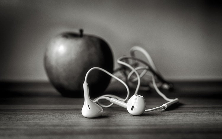 наушники, яблоко, айфон, ☊, ѽ, ч-б, headphones, apple, iphone, us, ,, b-b