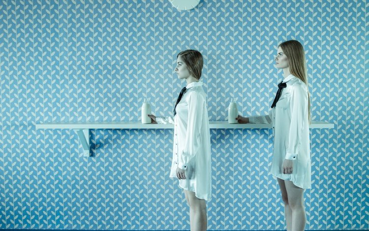 стена, девушки, молоко, wall, girls, milk