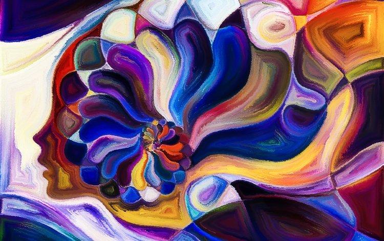 арт, абстракция, девушка, узор, цвет, расцветка, голова, башка, art, abstraction, girl, pattern, color, colors, head