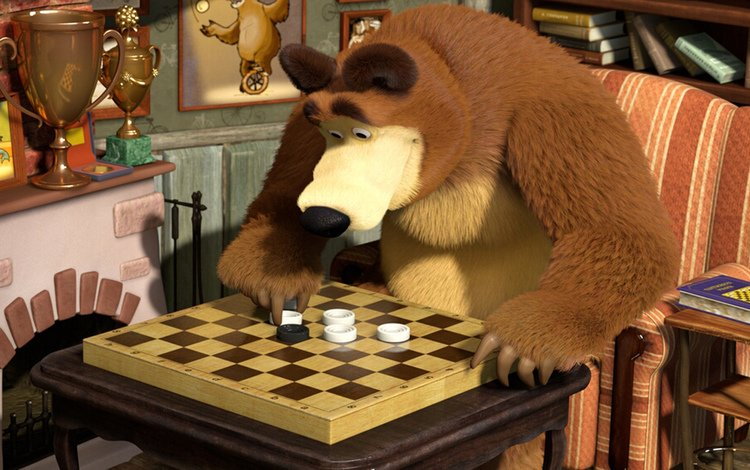 chess, bear, cartoon, and, masha, biar, ches