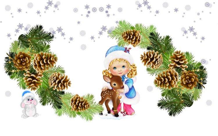 арт, зайчик, олень, ёлочка, снежинки, детская, веточка, малыши, праздник, шишки, снегурочка, art, bunny, deer, herringbone, snowflakes, children's, sprig, kids, holiday, bumps, maiden