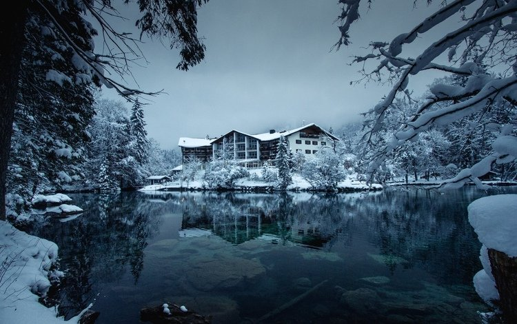озеро, лес, зима, дом, lake, forest, winter, house