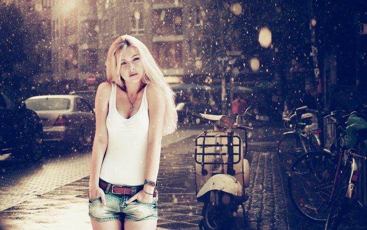 девушка, блондинка, взгляд, руки, шорты, девка, girl, blonde, look, hands, shorts