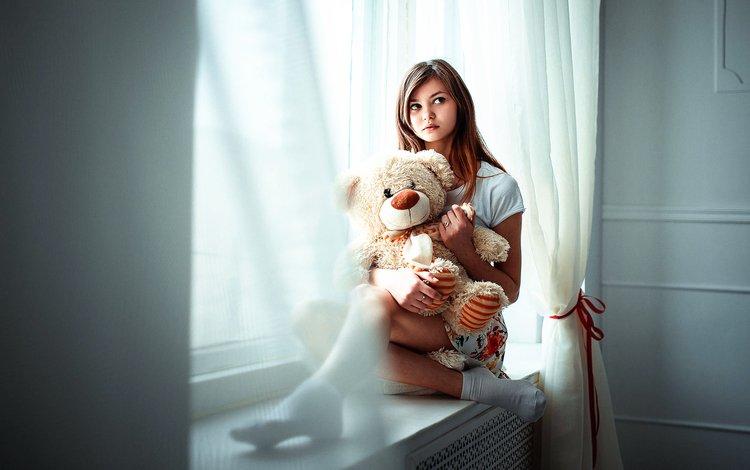девушка, настроение, медведь, игрушка, окно, плюшевый мишка, girl, mood, bear, toy, window, teddy bear