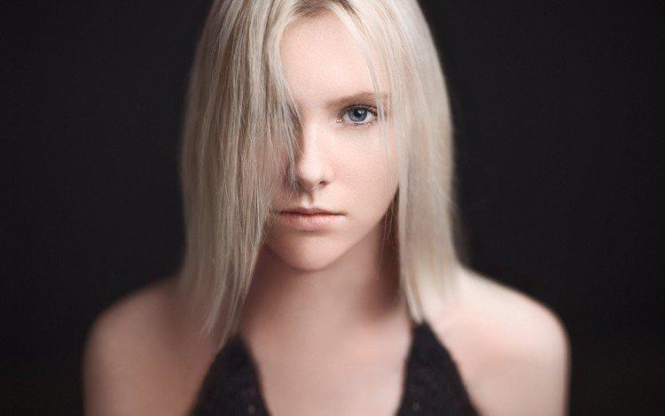 девушка, фон, портрет, взгляд, модель, волосы, черный фон, лицо, girl, background, portrait, look, model, hair, black background, face