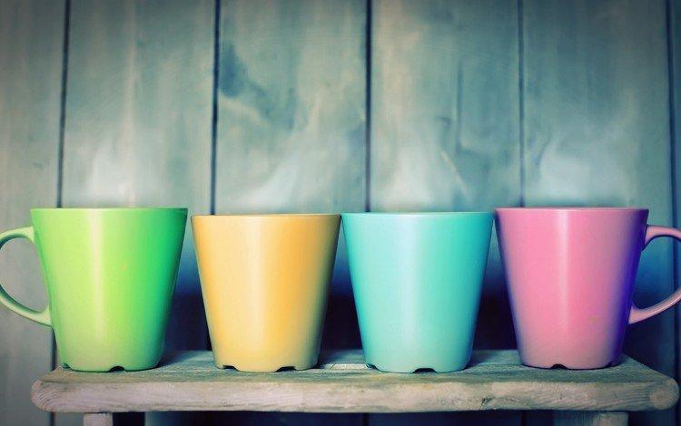 разноцветные, кружки, чай, чашки, colorful, mugs, tea, cup