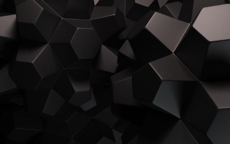 абстракция, многоугольник, фон, черный, геометрия, грани, рендер, 3д, многоугольники, abstraction, polygon, background, black, geometry, faces, render, 3d, polygons