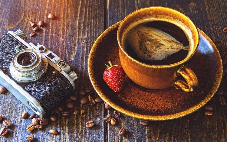клубника, зерна, кофе, чашка, камера, аппарат, strawberry, grain, coffee, cup, camera