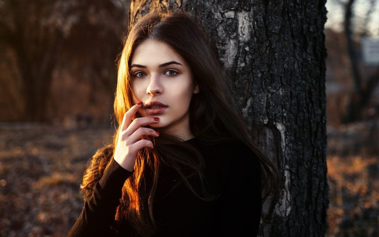 the sun, tree, hand, girl, portrait, brunette, look, face, makeup, hairstyle, posing, nature, bokeh, kris, dmytro khlystun