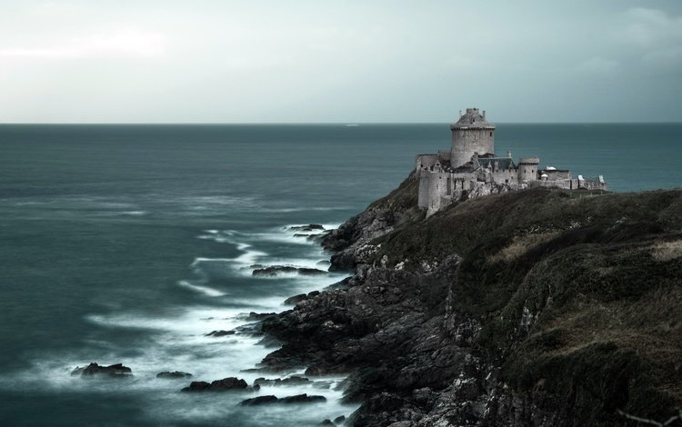 скалы, море, франция, франци, бретань, plevenon, плевен, форт ла латте, rocks, sea, france, brittany, pleven, fort la latte