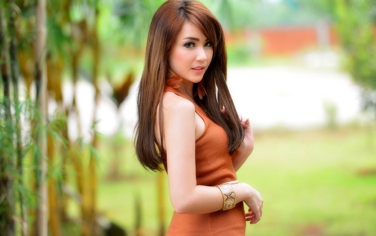 девушка, платье, взгляд, волосы, азиатка, winny valensia franoka, girl, dress, look, hair, asian