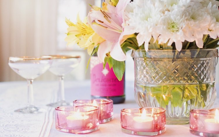 flowers, candles, wine, vase, bottle, glasses, lily, champagne, chrysanthemum, valentine's day