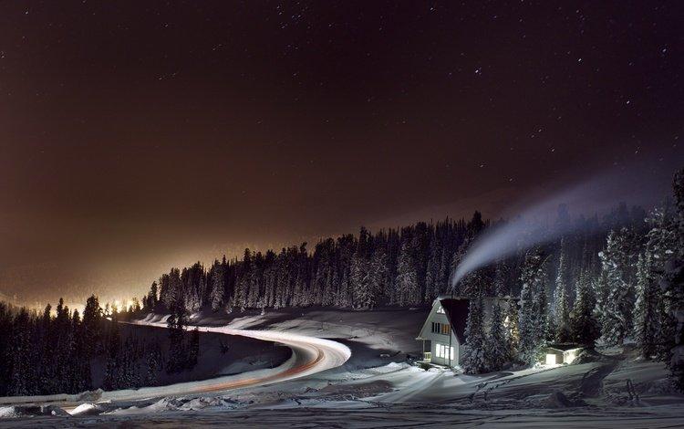 свет, дорога, ночь, деревья, лес, зима, дым, дом, light, road, night, trees, forest, winter, smoke, house