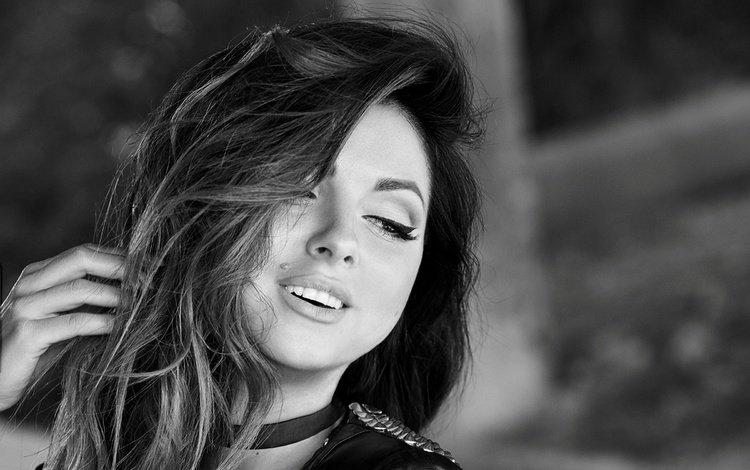 девушка, взгляд, чёрно-белое, волосы, лицо, певица, нюша, girl, look, black and white, hair, face, singer, nyusha