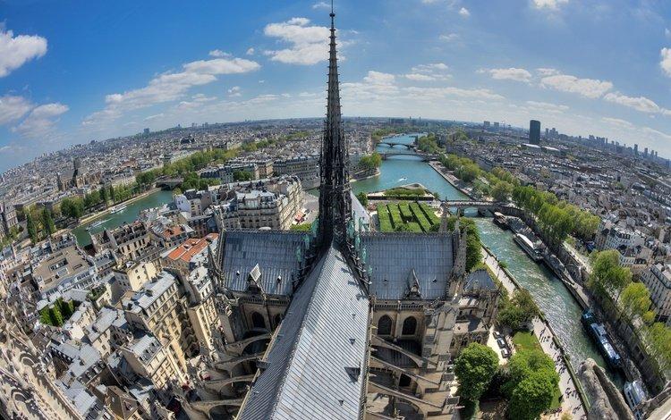 река, собор, панорама, париж, остров, франция, сена, нотр-дам-де-пари, river, cathedral, panorama, paris, island, france, hay, notre dame de paris