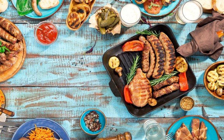 овощи, мясо, пиво, дерева, гриль, барбекю, grilled, vegetables, meat, beer, wood, grill, bbq