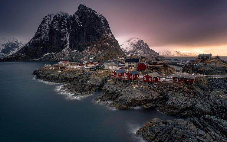 горы, скалы, норвегия, поселок, лофотенские острова, фьорд, mountains, rocks, norway, the village, the lofoten islands, the fjord