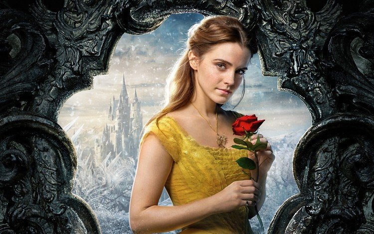 snow, dress, flower, castle, rose, red, actress, movie, necklace, emma watson, freckles, brown eyes, disney, beauty and the beast, brown hair