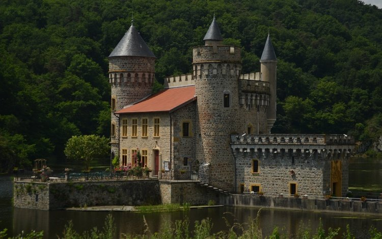 озеро, замок, франция, лейка, франци, chateau de la roche, lake, castle, france