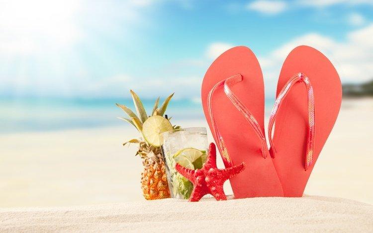 солнце, песка, мохито, море, seashells, песок, каникулы, пляж, сланцы, лето, летнее, коктейль, морская звезда, ананас, the sun, mojito, sea, sand, vacation, beach, slates, summer, cocktail, starfish, pineapple