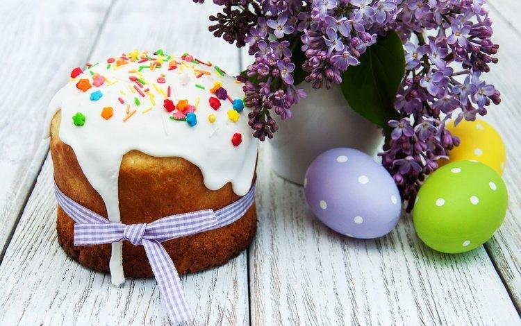 цветы, пасха, сирень, выпечка, глазурь, кулич, яйца крашеные, flowers, easter, lilac, cakes, glaze, cake, the painted eggs