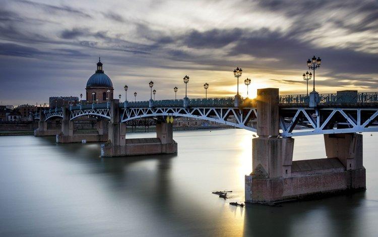 мост, город, франция, тулуза, пиренеи, bridge, the city, france, toulouse, the pyrenees