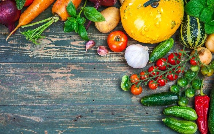 мята, чеснок, урожай, огурцы, овощи, кабачки, помидоры, свекла, морковь, натюрморт, перец, картофель, mint, garlic, harvest, cucumbers, vegetables, zucchini, tomatoes, beets, carrots, still life, pepper, potatoes