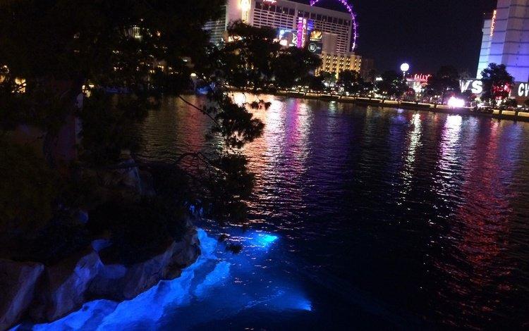 ночь, огни, река, город, сша, здания, лас-вегас, night, lights, river, the city, usa, building, las vegas
