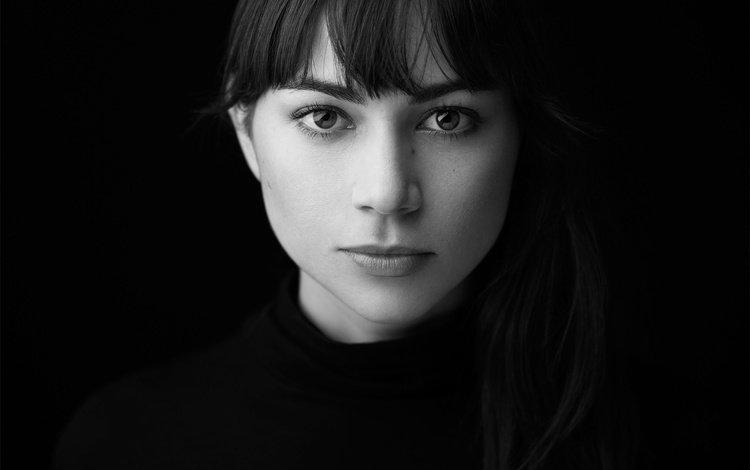 портрет, взгляд, чёрно-белое, модель, лицо, portrait, look, black and white, model, face