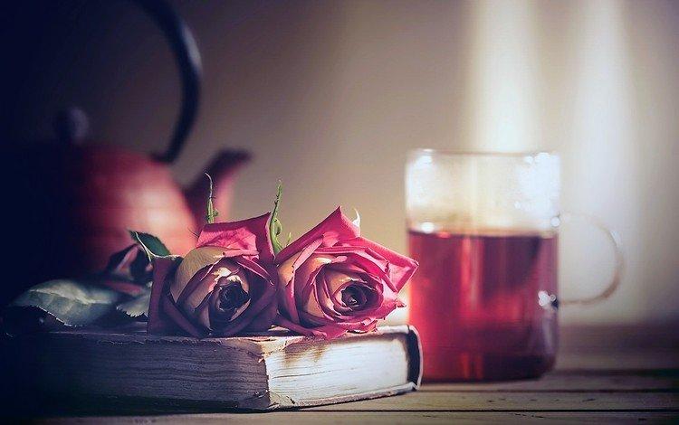 цветы, розы, чай, книга, flowers, roses, tea, book