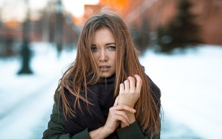 портрет, взгляд, модель, лицо, шатенка, шарф, голубоглазая, alexey slesarev, дарья дубникова, daria dubnikova, portrait, look, model, face, brown hair, scarf, blue-eyed
