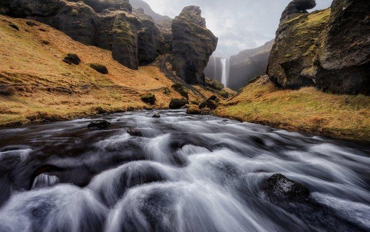 река, скалы, природа, водопад, поток, исландия, river, rocks, nature, waterfall, stream, iceland