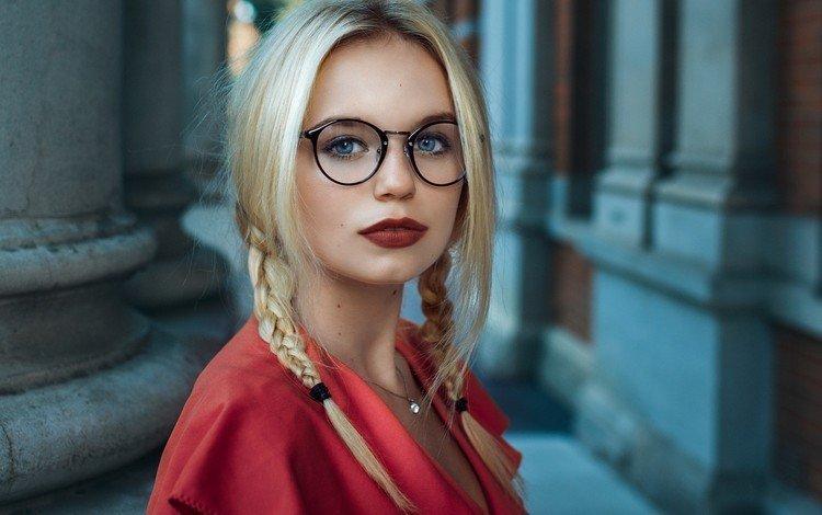 девушка, косички, блондинка, портрет, очки, волосы, губы, лицо, голубые глаза, girl, braids, blonde, portrait, glasses, hair, lips, face, blue eyes