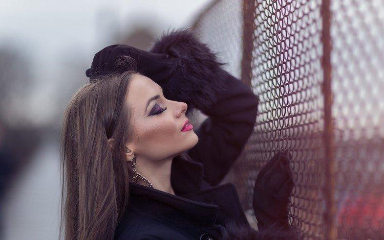 девушка, портрет, модель, профиль, волосы, губы, лицо, закрытые глаза, girl, portrait, model, profile, hair, lips, face, closed eyes