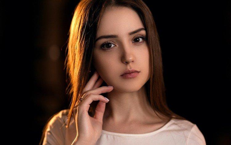 девушка, портрет, взгляд, волосы, лицо, girl, portrait, look, hair, face