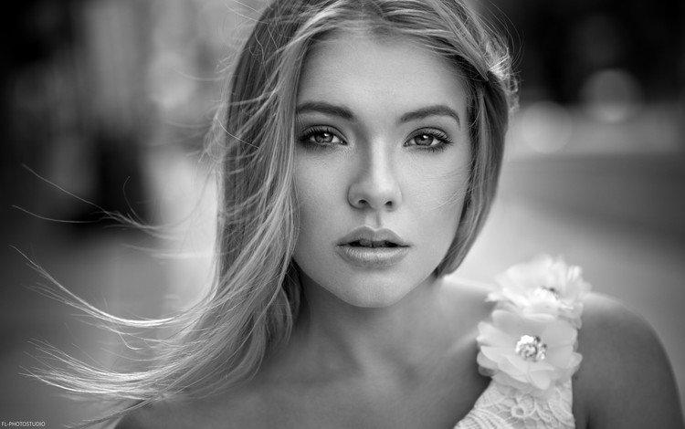 девушка, портрет, взгляд, чёрно-белое, волосы, лицо, anna maradan, girl, portrait, look, black and white, hair, face
