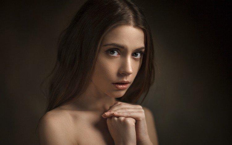 девушка, фон, портрет, взгляд, волосы, лицо, ксения кокорева, girl, background, portrait, look, hair, face, kseniya kokoreva