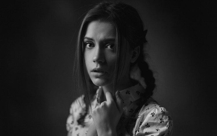 девушка, портрет, взгляд, чёрно-белое, волосы, лицо, косички, ксения кокорева, girl, portrait, look, black and white, hair, face, braids, kseniya kokoreva