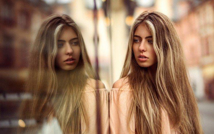 отражение, блондинка, портрет, стекло, длинные волосы, мартин кюн, reflection, blonde, portrait, glass, long hair, martin kuhn