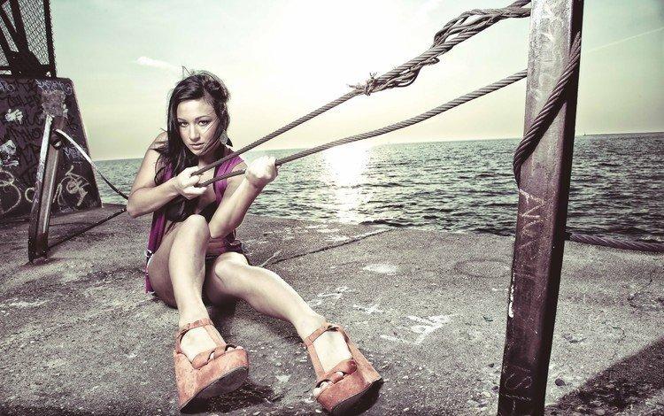 girl, look, model, legs, hair, swing, denigmo