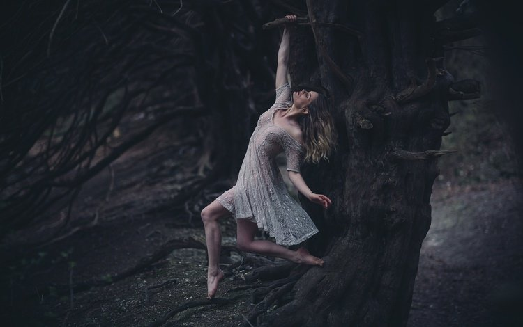tree, girl, dress, hanging