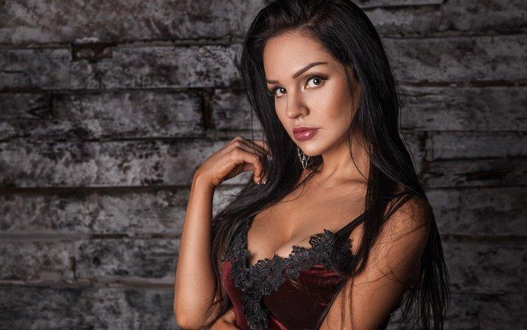 девушка, макияж, платье, бюст, портрет, вырез, брюнетка, лилия волкова, взгляд, модель, лицо, милая, girl, makeup, dress, bust, portrait, neckline, brunette, liliya volkova, look, model, face, sweetheart