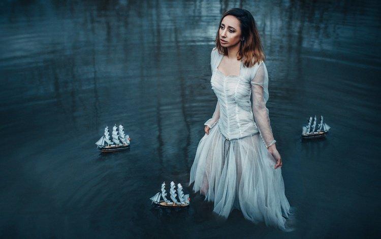 girl, dress, look, hair, tear, boats, in the water, adam bird